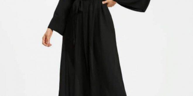 صورة عبايات سوداء بسيطة , احدث تصميمات للعبايات الخليجي