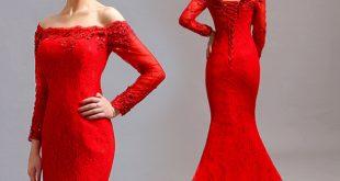 صور فساتين سهرة طويلة باللون الاحمر , احدث تفصيلات الفساتين للمناسبات