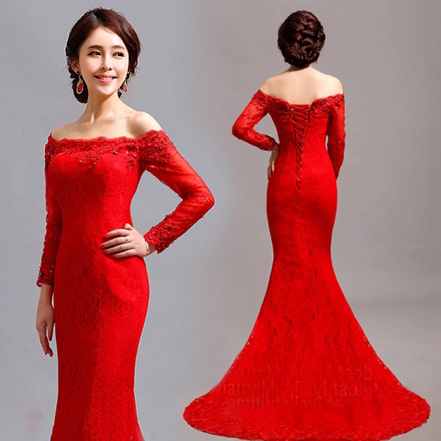 صورة فساتين سهرة طويلة باللون الاحمر , احدث تفصيلات الفساتين للمناسبات