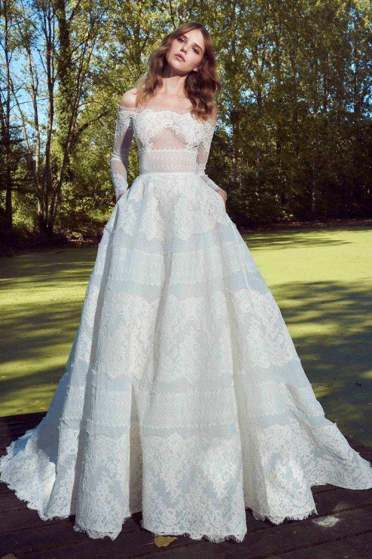 صورة فساتين زفاف زهير مراد 2019 , طلي بالابيض كالاميرات