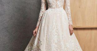 صور فساتين زفاف زهير مراد 2019 , طلي بالابيض مع تصميمات خلابه