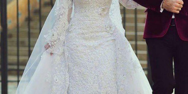 صورة فساتين للعرائس المحجبات , موديلات حديثة من الفساتين البيضاء للمحجبات