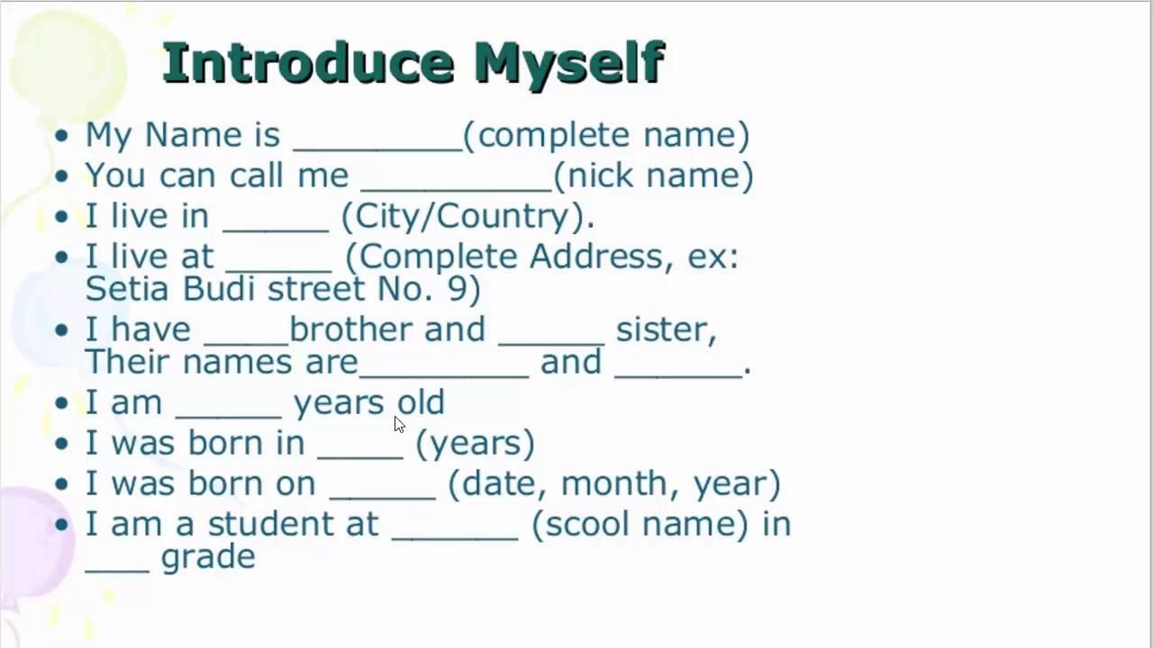 صورة كيف اتحدث عن نفسي بالانجليزي , موضوع تعبير تعريفي عن الشخصية