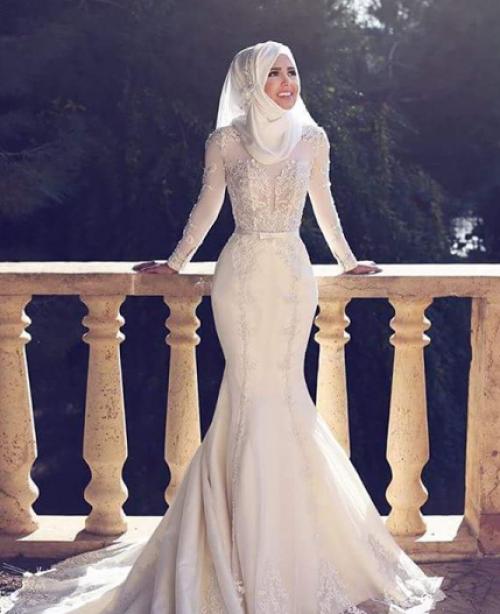 صورة حذاري من قلع الحجاب يوم الفرح , فساتين افراح محجبات 2019